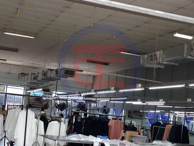 Hệ thống kênh dẫn gió mới trong hệ thống nhà xưởng may Thiên Sinh