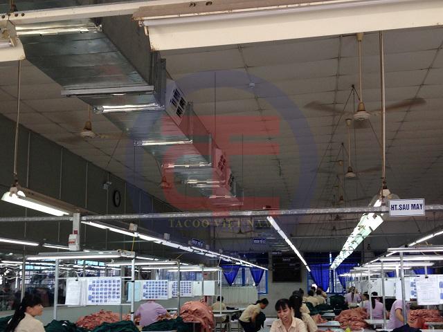 Hệ thống làm mát nhà xưởng được lắp đặt tại nhà máy may Thiên Sinh