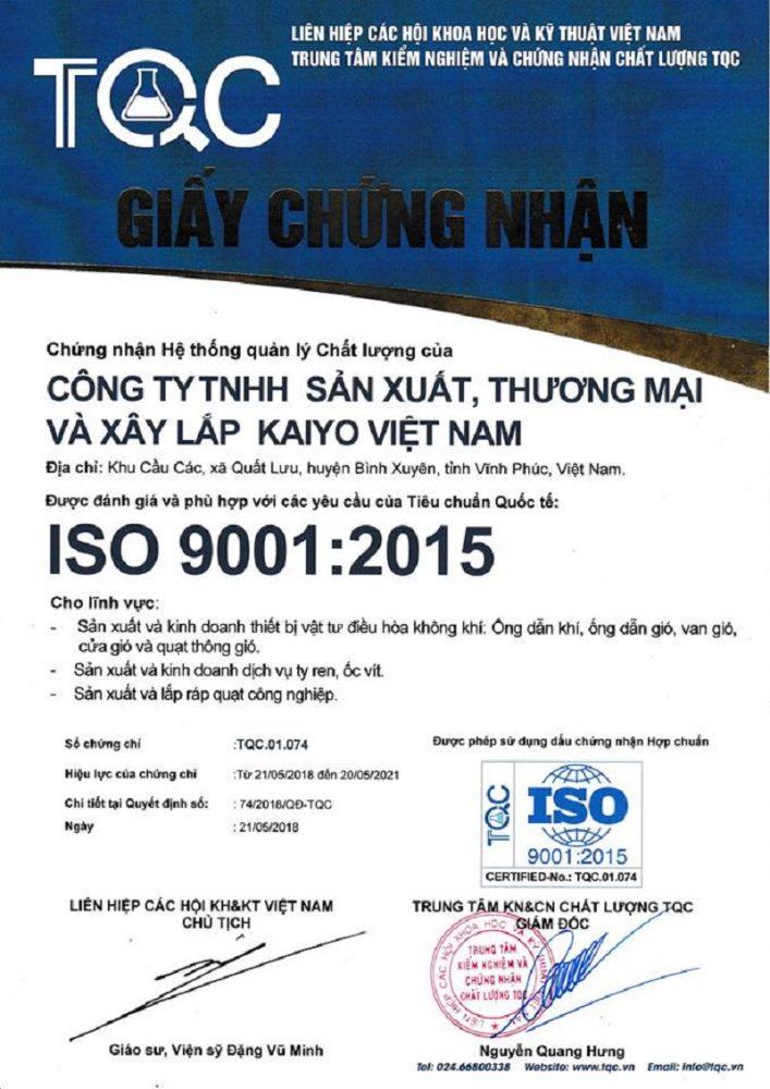 Chất lượng ISO 9001: 2015
