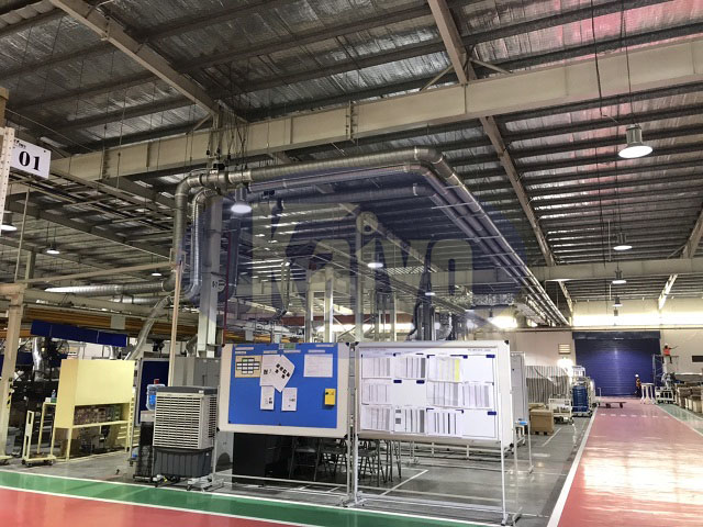 Hệ thống đường ống hút tại nahf máy Toyota