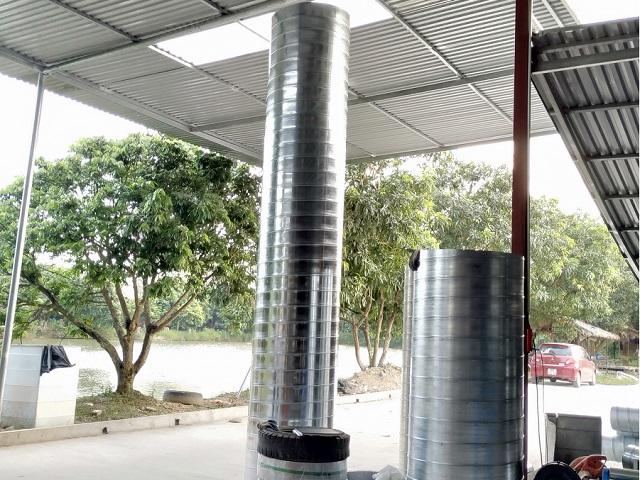 Sản phẩm ống gió tròn tôn mạ kẽm độ dày tiêu chuẩn