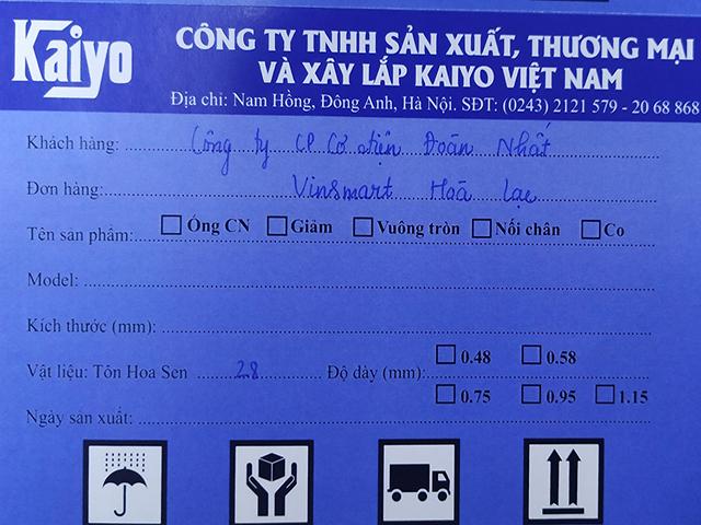 Tem xuất xưởng ống gió Kaiyo Việt Nam