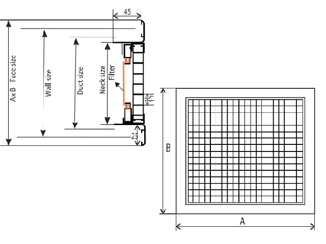 Kích thước thiết kế mô tả về sản phẩm cửa gió sọt trứng