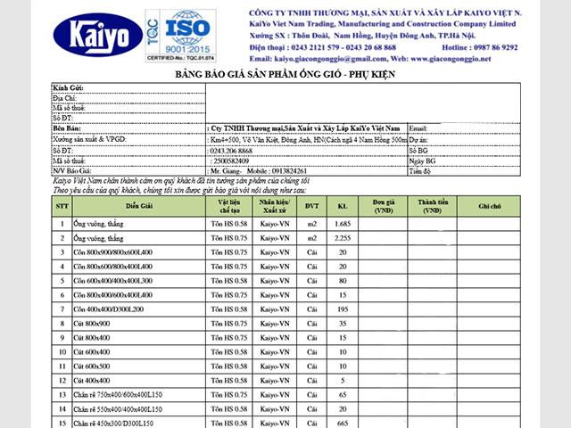 Bảng báo giá phụ kiện ống gió minh hoạ bởi ống gió Kaiyo Việt Nam