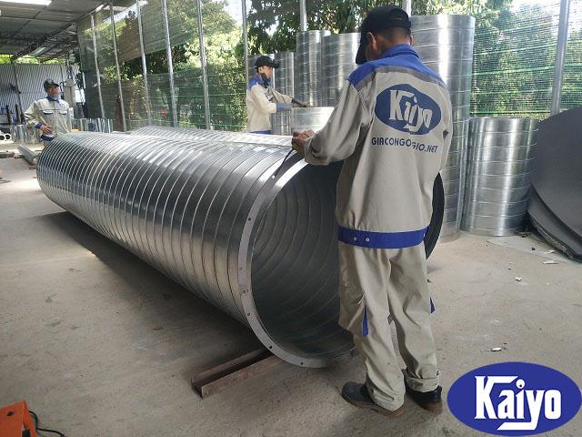 Ống gió tròn xoắn được gia công sản xuất tại Kaiyo Việt Nam