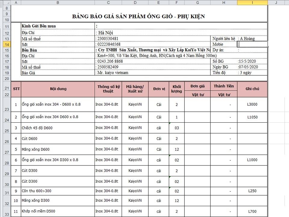 Mẫu báo giá phụ kiện ống gió tròn inox được thực hiện bởi Kaiyo Việt Nam