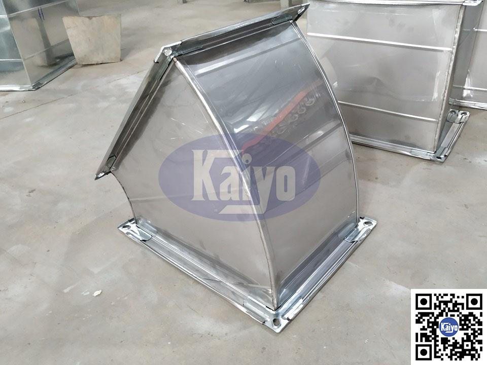 Sản phẩm cút gió vuông inox 45 độ - 304 dày 0.6 mờ